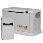 Generac model# 5875 shown with automatic transfer switch