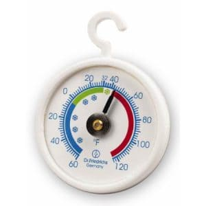 Refrigerator-freezer thermometer indicating safe and unsafe temperature zones.