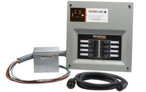 A Generac Homelink Manual Transfer Switch with Inlet Box, Generator Cord, and Pre-wired Circuit Breakers