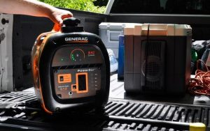 IQ2000 Inverter Generator lifts easily into the back of a pickup truck.