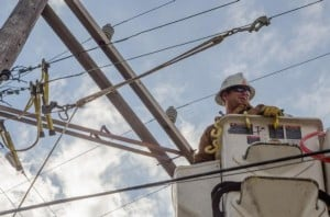 Utility Lineman works to restore power in Ocean City New Jersey after Hurricane Sandy