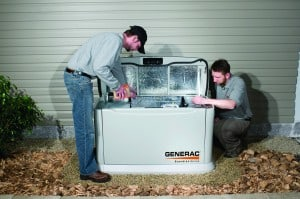 Standby generator with covers open for access.