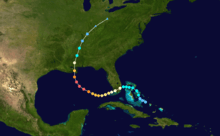 The storm track for Hurricane Katrina in 2005