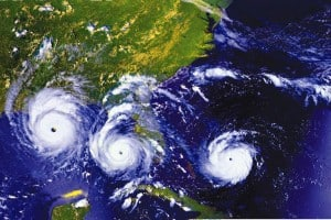 Satellite imagery shows three positions of hurricane Andrew before, during, and after it hit Florida.