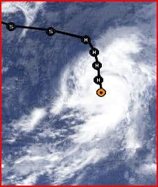 Clouds and storm track of Hurricane Humberto