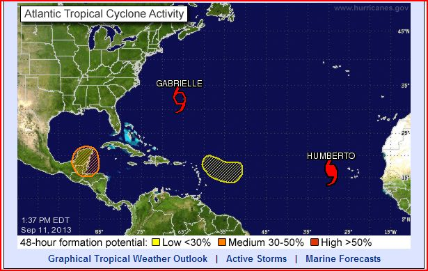 Storm Systems Including Hurricane Humberto and TS Gabrielle