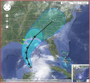 The storm track and cone with coastline watches of TS Karen