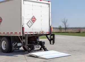 A box truck with a lift gate for unloaded cargo