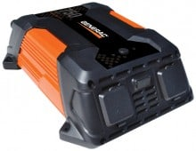 A Generac 750 watt inverter that connects to a 12-volt battery and produces 115 volts.