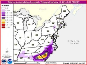 Map showing ice accumulations in the south.