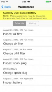 IOS Mobile Link App showing Maintenance Alerts for filters, oil changes, spark plug changes.