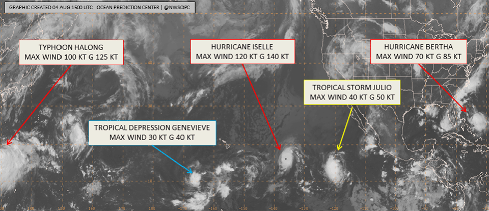 Five tropical cyclones shown in the ocean tropics including Bertha, Iselle, Julio, Genevieve, and Halong.