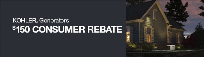 Kohler 150 Rebate Banner with house & generator