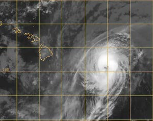 Satellite image of Hurricane Iselle before impacting Hawaii as a strong tropical storm.
