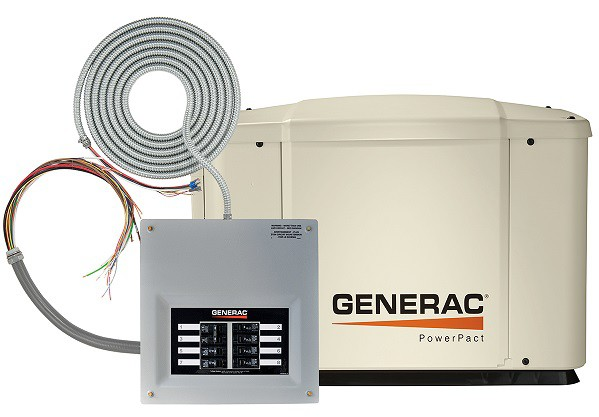 Generac PowerPact 6518 showing automatic transfer switch with wiring whips for installation.
