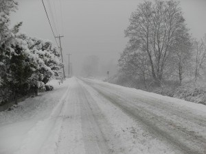 Winter road during a snowstorm.