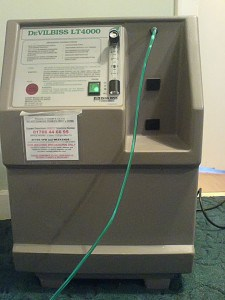 An oxygen concentrator provides oxygen for people with severe breathing problems.
