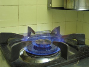 A burner on a gas stove top.