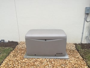 Kohler Standby Unit installed on a rock pad