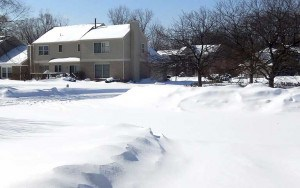 Winter In a Snow-Covered Suburban Neighborhood After a Storm