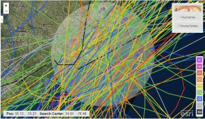 Color-coded hurricane tracks