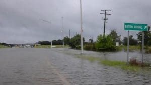 A roadway underwater outside Baton Rouge Louisiana