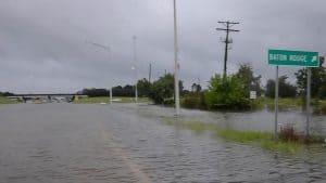 A roadway underwater outside Baton Rouge Louisiana