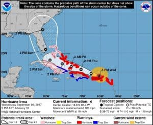 National Hurricane Center Track and Cone of uncertainty for hurrican Irma