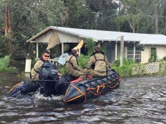 Florida National Guard using boats to go house to house in Jacksonville, FL
