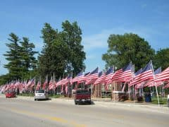 United States Flags fly along the Parade Route
