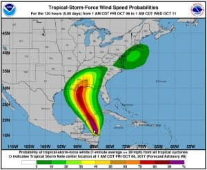 Forecast Wind Probably for Tropical Storm / Hurricane Nate
