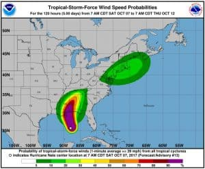 Storm Force Wind Probabilities for Hurricane Nate