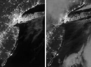 Comparison Photo NASA. Left is New York City, New Jersey, and Long Island on August 31, 2012. Right is Nov 1 and 7.4 Million Reported Power Outages.
