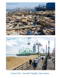 Before and After Images in 2012 and 2017 of Seaside Heights Pier