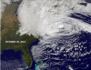 Hurricane Sandy Making Landfall Reaches Inland to the Great Lakes