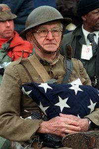Vietnam Veteran Memorial Dedication Parade - WW I Veteran Joseph Ambrose Holding Son's Coffin Flag