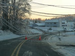 Down Power Lines and Trees Covered in Ice