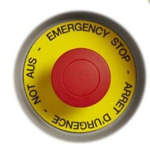 Red Emergency Stop Button with Decal