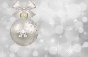 A Christmas Ornament Against a Sparkly Background