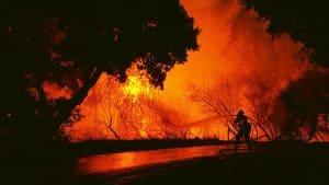 Firefighter Battles an Intense Blaze During the 2017 Cailornia Firestorm