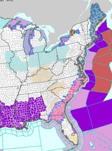 NOAA image depicting the forecast area for Winter Storm Grayson