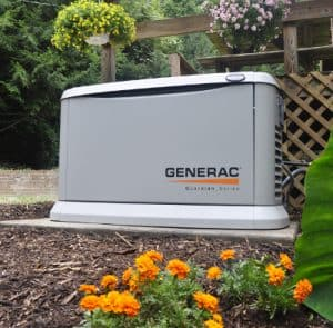 Generac Home Standby on a poured concrete pad