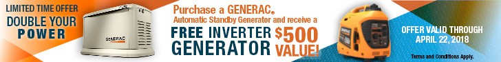 Banner Promoting the Generac Double Your Power Rebate