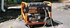 A Generac GP 5500-Watt Portable Supplying Emergency Power During an Outage Following a Storm
