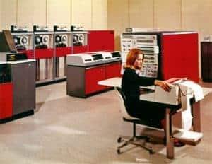 A Data Center with a IBM Sytem 360 mainframe computer system