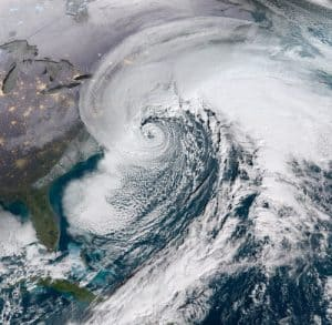 GOES 16 Satellite image of Winter Storm Grayson the January 3 Nor'easter.