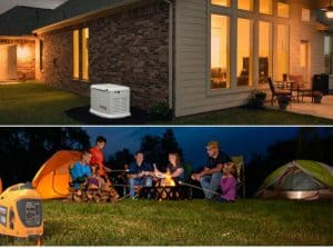 Home with a standby generator and a family campfire with an inverter generator nearby
