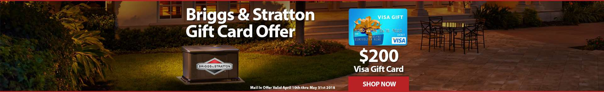 Briggs and Stratton 200 Dollar Visa Gift Card Offer