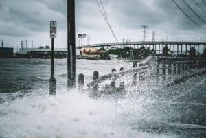Storm Surge Durring Hurricane Harvey Floods a Texas Road