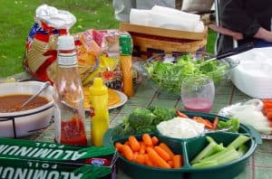 Americvan Picnic Table with Food